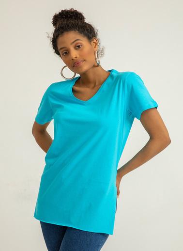 Foremia V Yaka Basıc T-Shirt Mavi
